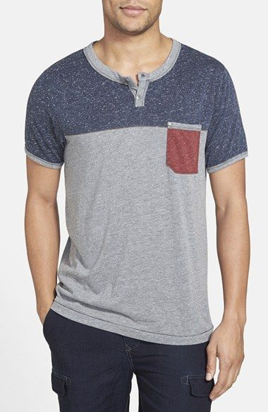 """The pocket Henley.  Jeremiah - 'Nathan Colorblock` Short Sleeve """"Silver Heather"""""""