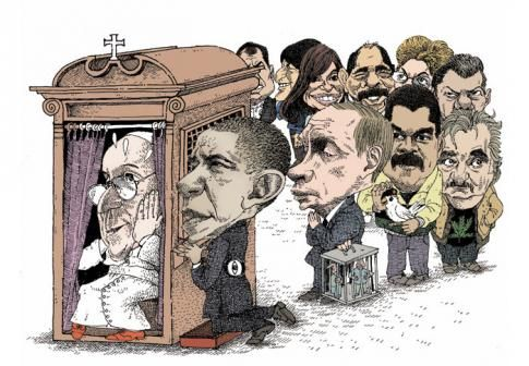 Le pape François, Barack Obama, Vladimir Poutine, Nicolás Maduro, José Mujica, Juan Manuel Santos, Dilma Rousseff, Daniel Ortega, Cristina Fernández de Kirchner, Evo Morales, Rafael Correa.