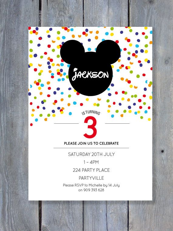 MICKEY Mouse Invitation for Birthday Party - Confetti Style - Rainbow - Clubhouse - Printable file 7x5 - Print Your Own