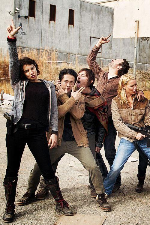 Lauren Cohan, Steve Yeun, Norman Reedus, Andrew Lincoln and Laurie Holden. The Walking Dead