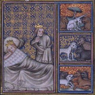Visions de Childéric Ier et de la reine Basine. (FR 2813),fol.7v,Grandes Chroniques de France de Charles V,France,Paris,XIVème siècle,(65x65 mm).