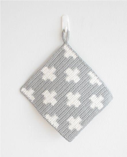 Bjork ポットホルダー - cholon[チョロン]| Web Shop: Bad Design, Crochet Potholders, Crochet Kitchens, Pots Holders, Gifts Ideas, Crochet Crosses Blankets, Knits Potholders, Crochet Inspiration, Knits Grey