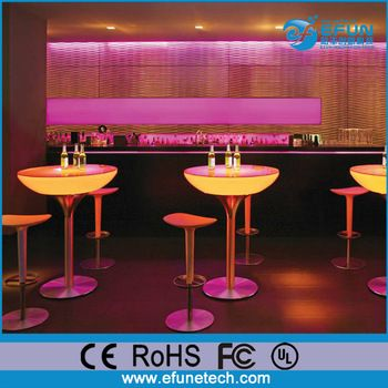 Beautiful Battery power source high top bar led tables plastic material glowing art deco restaurant furniture