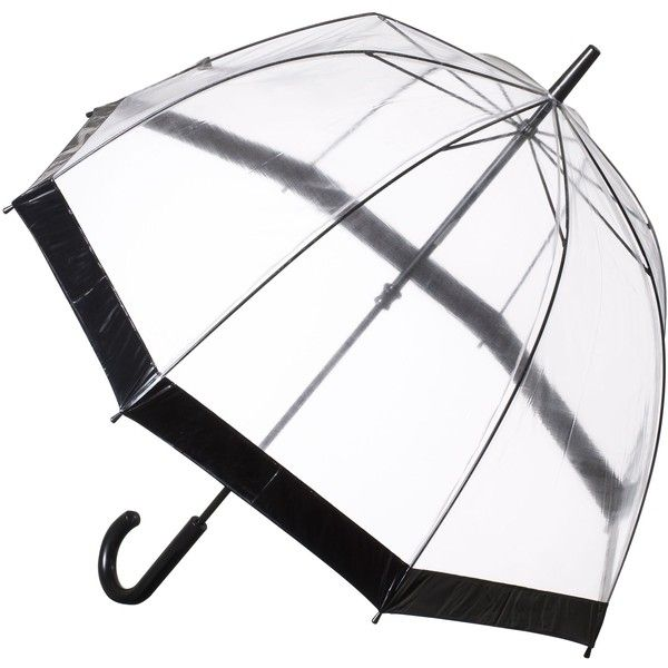Fulton Birdcage Domed Umbrella ($28) ❤ liked on Polyvore featuring accessories, umbrellas, black, fulton, dome umbrella, transparent umbrella, transparent dome umbrella and see through umbrella