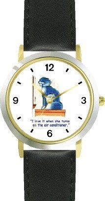 Gray Cat Cartoon or Comic - JP Animal - WATCHBUDDY® DELUXE TWO-TONE THEME WATCH - Arabic Numbers - Black Leather Strap-Size-Children's Size-Small ( Boy's Size & Girl's Size ) WatchBuddy. $49.95