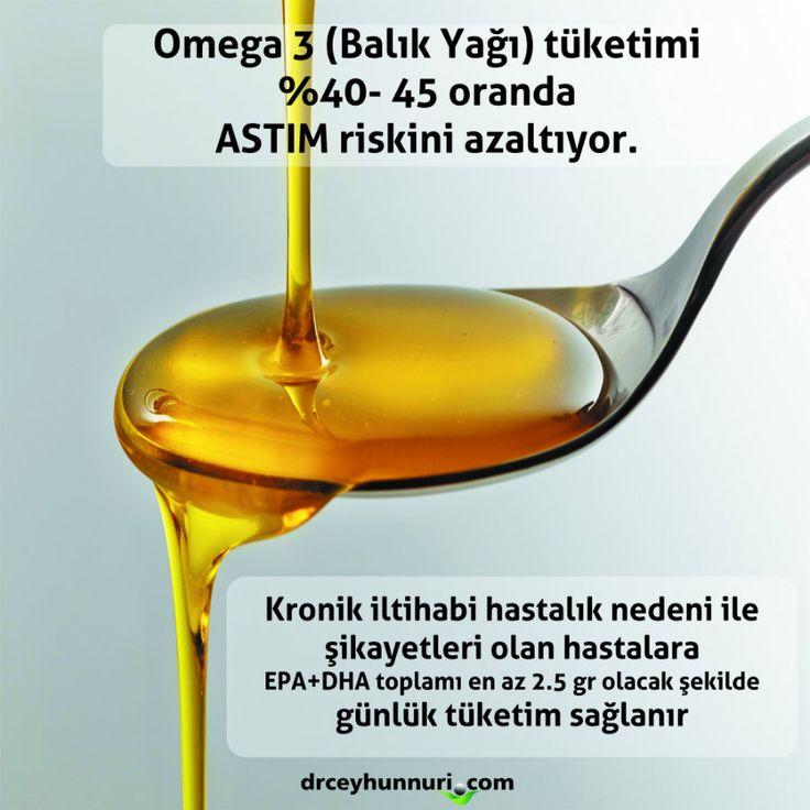 OMEGA 3 - ASTIM Omega 3 (Balık Yağı) tüketimi %40 - 45 oranda ASTIM riskini azaltıyor. Kronik iltihabi hastalık nedeni ile şikayetleri olan hastalara EPA+DHA toplamı en az 2.5 gr olacak şekilde günlük tüketim sağlanır.   Detaylı Bilgi ve Öneriler: http://www.drceyhunnuri.com/solunum-sistemi-hastaliklari/astim-tedavisi/