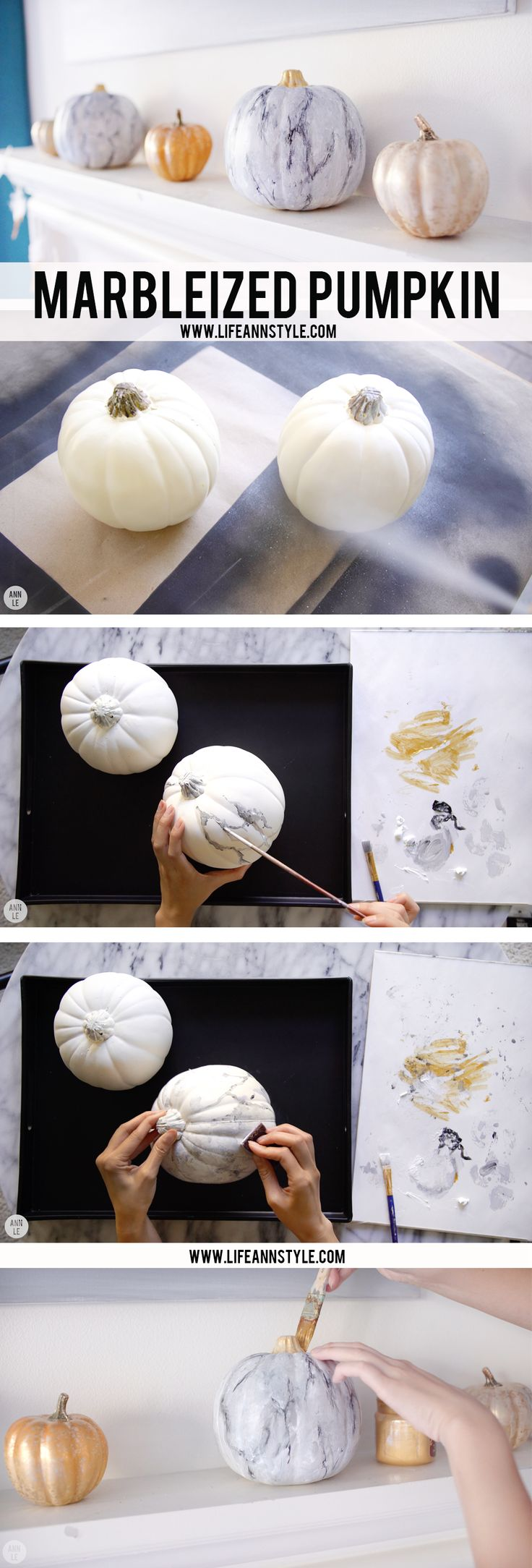 DIY MARBLE PUMPKIN | Marble Painting www.LifeAnnStyle.com