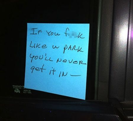 bad parking notes, angry notes left on cars