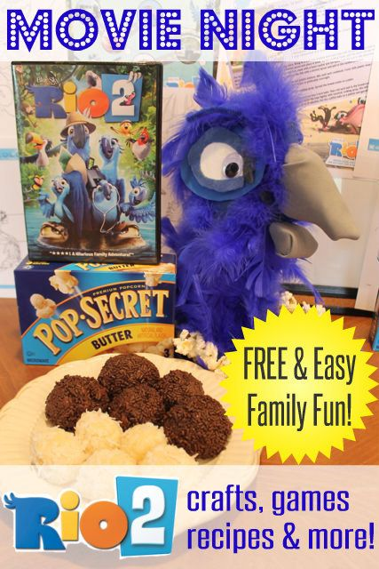 Super Easy and FREE Ideas for your next Family Movie Night - FREE recipes, crafts, games, kid activities & more. Saved me loads of time! And Rio 2 is a great family-friendly movie- great for kids! HappyandBlessedHome.com