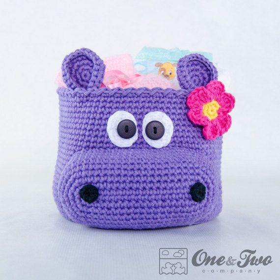 Nilpferd häkeln Korb PDF Crochet Pattern von oneandtwocompany