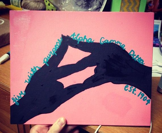 Alpha Gamma Delta hand symbol painting