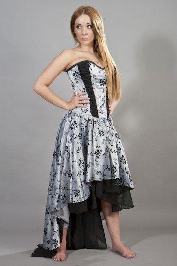 valerie high low corset dress in silver satin flock