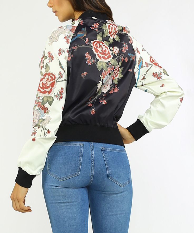 Black & Pink Floral Zip-Up Bomber Jacket