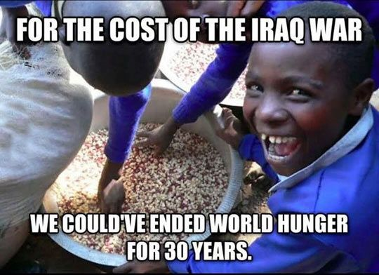 The Cost Of War for weapons of mass destruction that didn't exist.  Thank Pres Bush and his croney Dick Cheney for their manufactured manipulation and proven LIES of mass destruction.