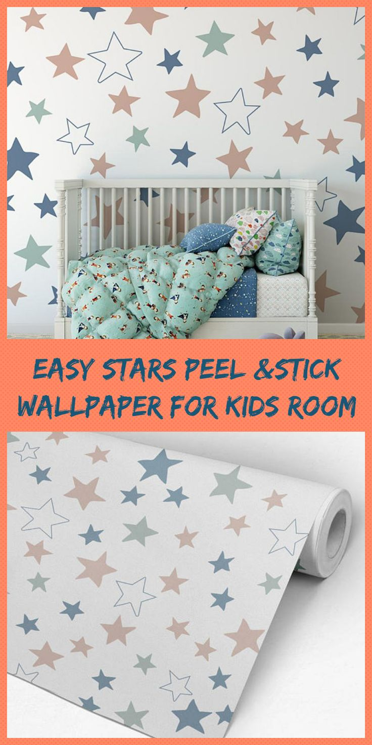 Simply stick it to the wall and you're done! Self-adhesive wallpaper is also just as easy to take off as it is to put on. It is ideal especially for apartments, dorm rooms, or temporary decoration such as for parties #babynursery #wallpaper #babydecor #kidsroom #ad