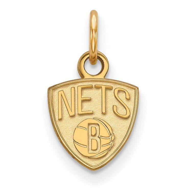 Sterling Silver w/GP NBA LogoArt Brooklyn Nets XS Pendant