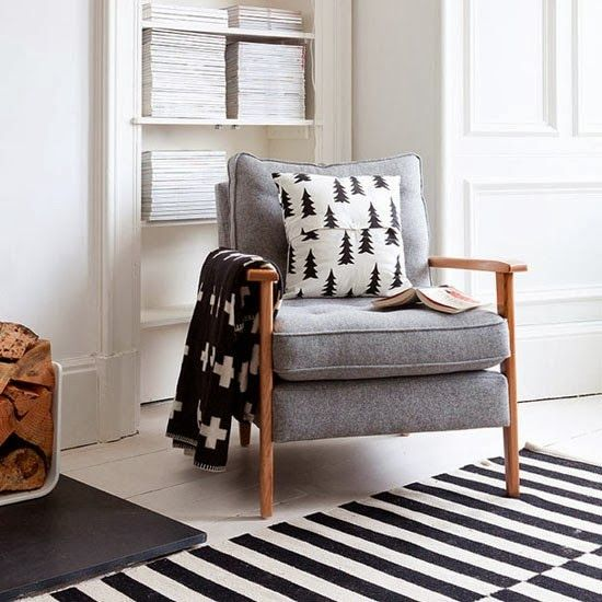 House Gawking: Immaculate UK Flat I like the idea of a Grey couch with black and white pillows of different patterns