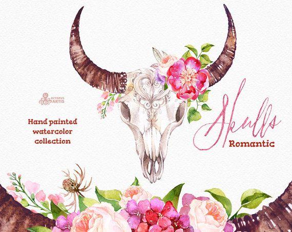 Romantische schedels. Aquarel schedels met hoorns en bloemen, stier, koe schedel, handgeschilderde, pioenrozen, bloemen, citaten, tribal, boho, headbull