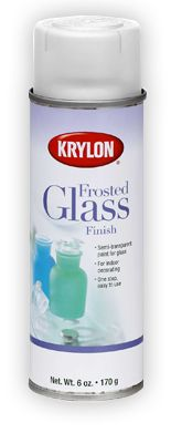 Frosted Glass Finish-comes in white and pearl grey--I wonder if you could use a stencil and make it appear like etched glass...