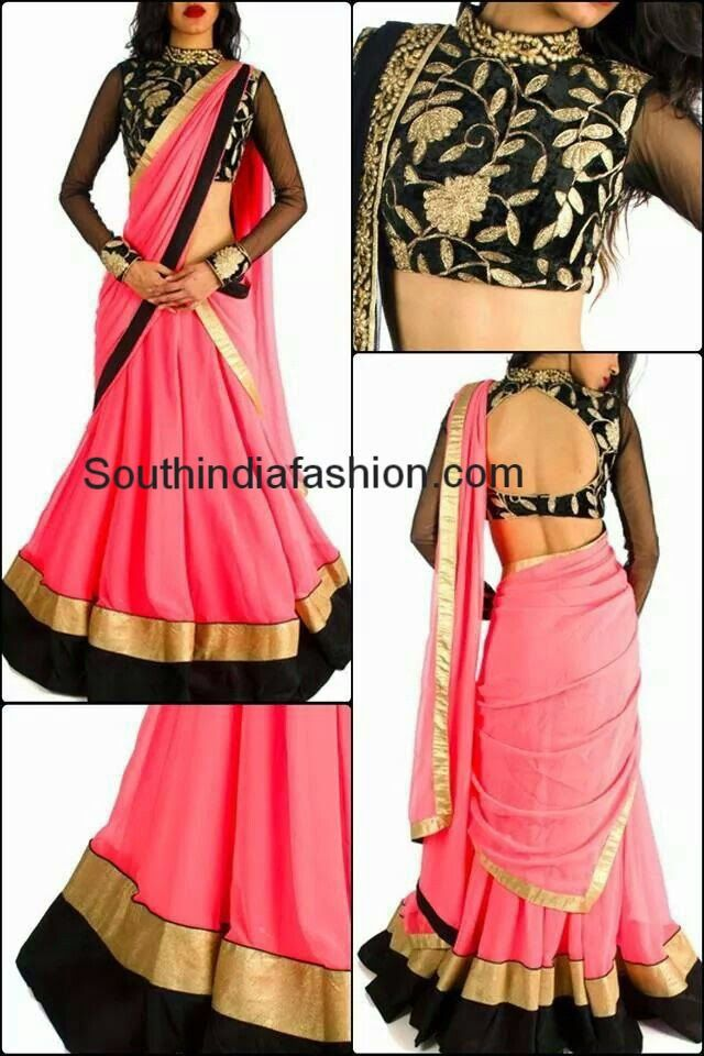 Fashionable Half Saree with High Neck Blouse ~ Celebrity Sarees, Designer Sarees, Bridal Sarees, Latest Blouse Designs 2014