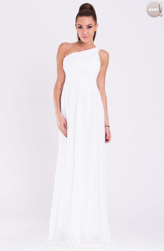 Elegancka, biała, długa suknia z asymetryczną górą. #suknia #sukienka #elegancka #biała #długa #kobieta #moda #trendy