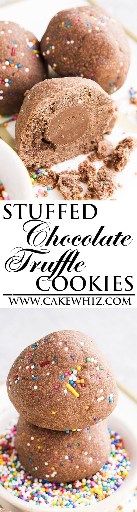 These rich STUFFED CHOCOLATE TRUFFLE COOKIES with sprinkles are a fun spin on classic chocolate snowball cookies. Great homemade gift for Christmas holidays too. From cakewhiz.com