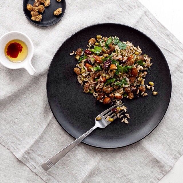 """​This Brown Rice Mung Bean & Mulberry Pilaf was inspired by her travels to Turkey. Our #featuredfoodie @kenkokitchen is a bit of a kitchen genius!  Enjoy…"""