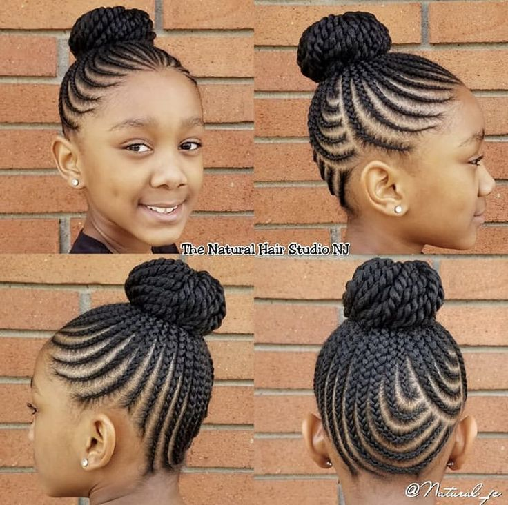 Cornrows Into A Bun Hairstyle Black Kids Hairstyles Natural Hairstyles For Kids Kids Hairstyles