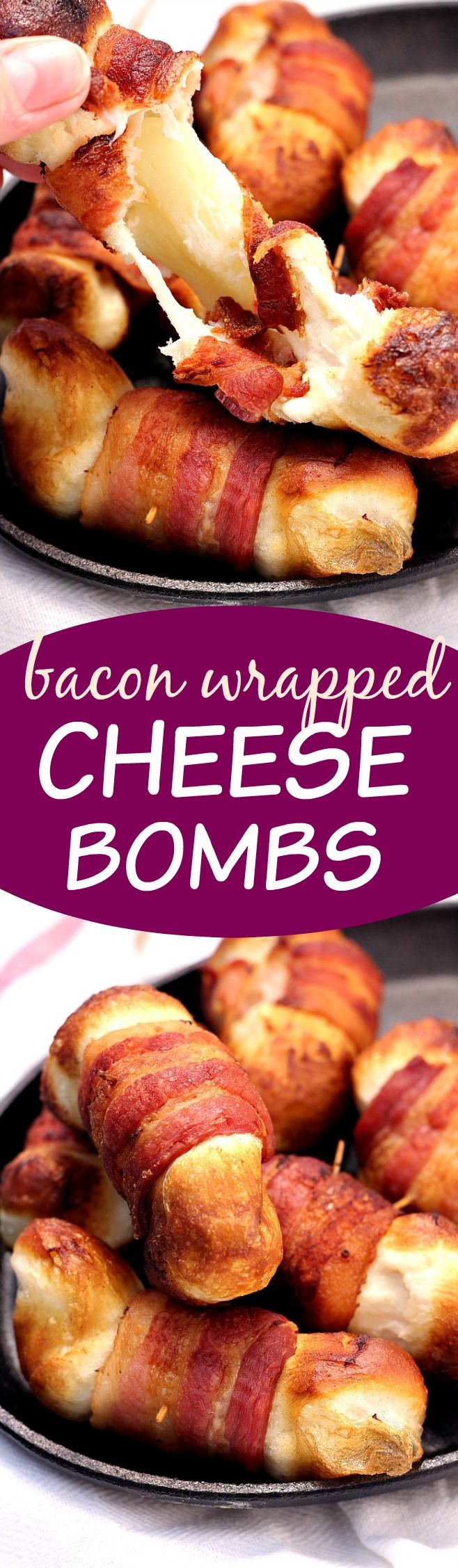 Bacon Wrapped Cheese Bombs - the appetizer that will make the party! Cheese filled biscuit bombs wrapped in bacon and fried. Do it!