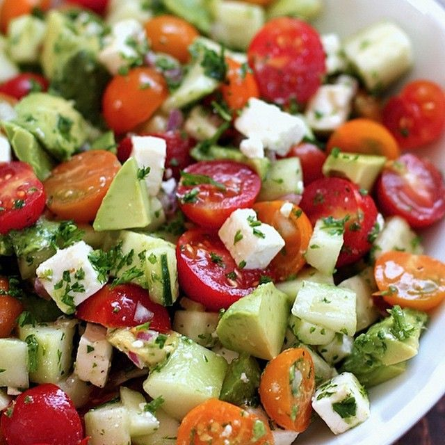 """""""Tomato, Cucumber and Avocado Salad - Credit: 1mrecipes.com - Ingredients -  1½ cups of cherry tomatoes 1 peeled and seeded then diced cucumber 1 diced…"""""""
