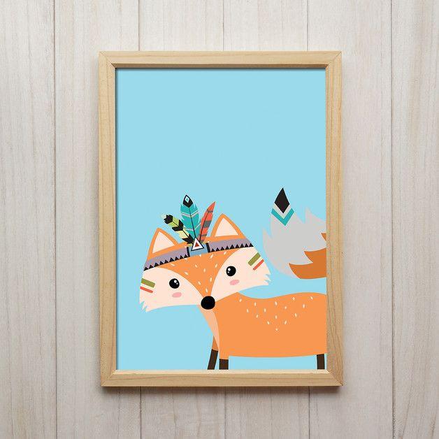 Schön Tribal Fuchs Illustration Kinderzimmer Deko Kunstdruck DIN A4 Liebevoll  Designter Kunstdruck In Din A4 Format Auf