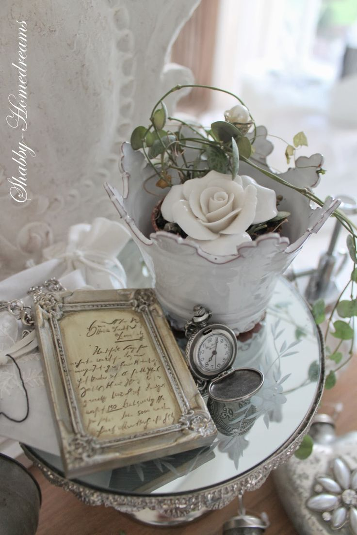 Love the Flower Vase bucket idea along with displaying Grandpa's old old pocket watches ...Shabby Chic's ol