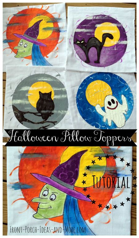 Halloween pillow toppers are sure to put a smile on the trick-or-treaters' faces. Get the tutorial at www.Front-Porch-Ideas-and-More.com/halloween-outside-decorations.html  #halloweenporchdecorations #halloweenpillows