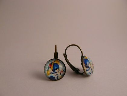 Bluebird in a Bonnet Earrings