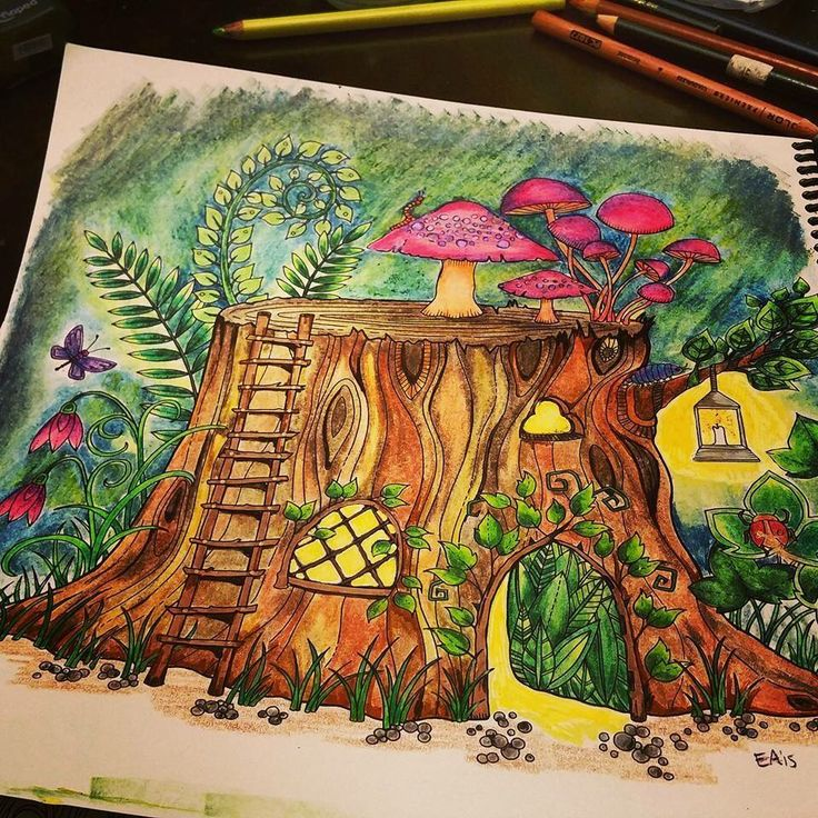 Tree Stumps Johanna Basford Trunks Colouring Coloring Books Forests Enchanted Mushrooms Vintage