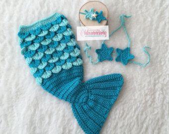Mermaid Tail Seashell Bikini Top and Sea by TheCrochetElephant