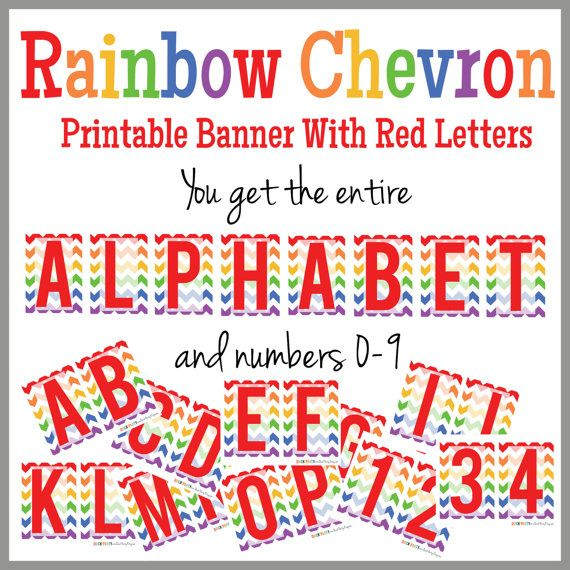 rainbow chevron printable alphabet banner