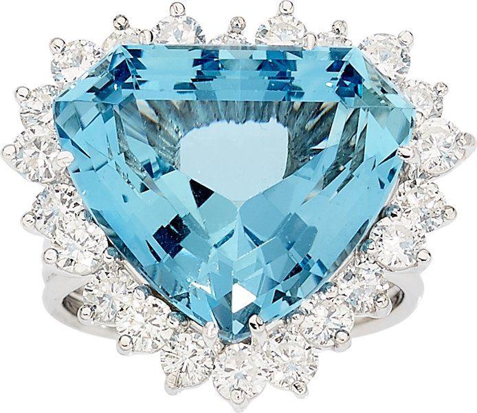 Aquamarine, Diamond & White Gold Ring.