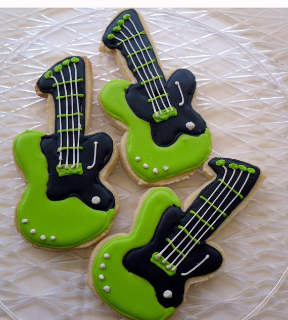 Electric Guitar Cookies Rock Star Birthday by charmingtreats4you, $36.00