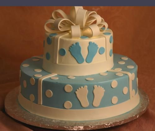 Baby Boy Shower cake. This could also be used as an UNC cake with the footprints! :)