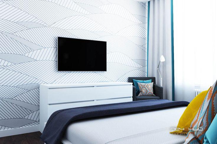 """Дизайн интерьера спальни в современном стиле в трёхкомнатной квартире. Серый, белый, жёлтый, бирюзовый. Студия дизайна """"Печёный""""."""