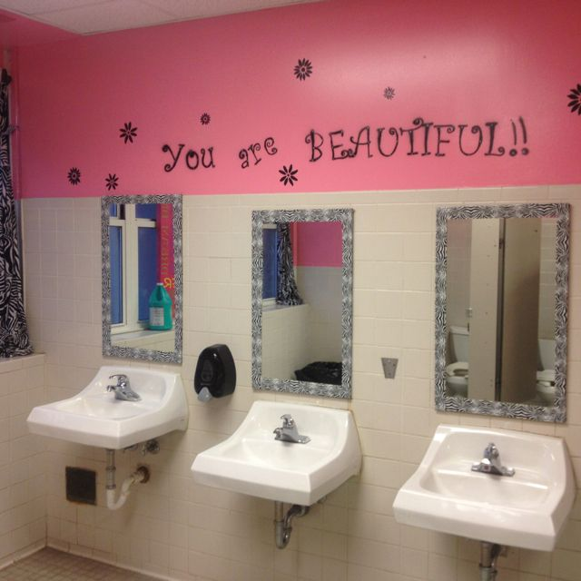 School mural cute bathroom idea, what a novel idea... never would have thought about it