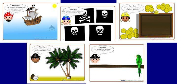 Pirate playdough mats - free printable download
