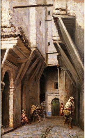 Joseph Sintes (Alaior 1829 - Alger 1913) Titre « Dans la Casbah d'Alger »