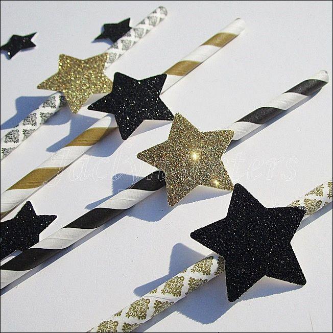 Black & Gold Star Party Straws