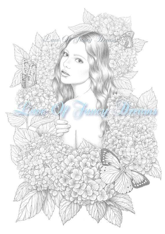 Hydrangea Coloring Page Pdf Beautiful Woman Coloring Sheet