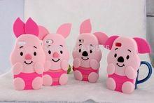 1 X 3D nueva rosado lindo del cerdo con oídos de silicona cajas del teléfono para Apple iPhone 4 4S 4 G de goma teléfono móvil de la piel envío gratis(China (Mainland))