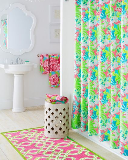 lilly pulitzer bathroom garnet hill in either lets cha cha turquoise first impression hotty pink or checking in blue i love this