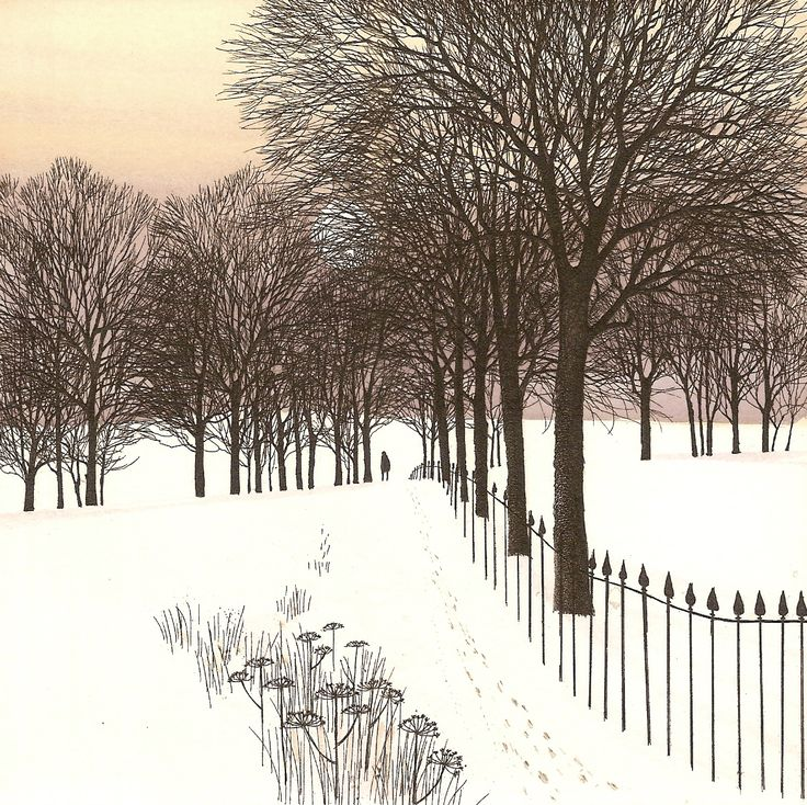 Kathleen Caddick, 'Snow in the Park.' Hand coloured etching.