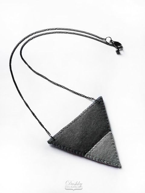 necklace by #dushky | #felt #jewelry #accessories #necklace #pendant #triangle #triangles #geometry #grey #monotone